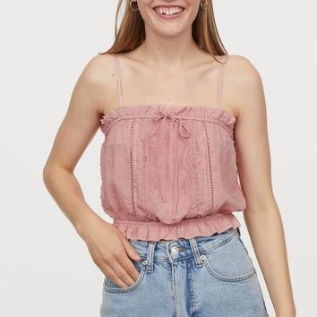 Short Top with Lace - Light pink -   H&M US