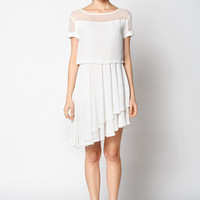 Asymmetric Pleated Mini Dress