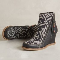 Tapestry Wedge Boots by Buyamba Black