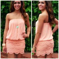 Beach Fever Peach Strapless Crochet Dress
