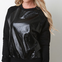 Vegan Leather and Knit Raglan Pullover Top