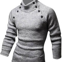 jeansian Men's Slim Fit Long Sleeves Casual Shirts Pullover Sweater 8831