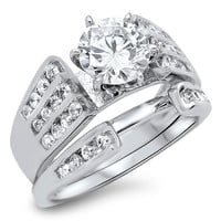 Sterling Silver CZ 1 carat Brilliant Round Cut with Sidestones Wedding Ring Set Size 5-10