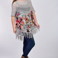 Selfie Couture by Trendology Gray and Floral Fringe Top