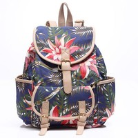 Floral Printed Canvas Casual Backpack