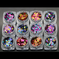 Laser 6 colors 12 Nail Art Glitter ROUND Shapes Confetti Sequins Acrylic Tips UV Gel B Style Sale By 12jar/set
