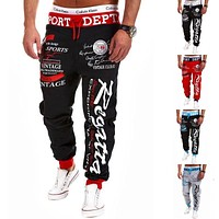 2017 Regular Drawstring elastic waist Brand Sweatpants Trousers Men Harem Pants, Men'S Big Pocket Man Cargo Joggers