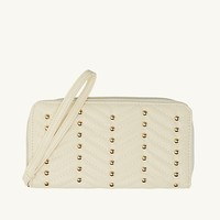 Stud Chevron Quilted Wristlet