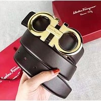 Ferragamo Woman Men Fashion Smooth Buckle Belt Leather Belt