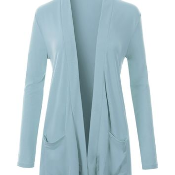 Classic Ultra Soft Long Sleeve Open Front Slouchy Pocket Cardigan (CLEARANCE)