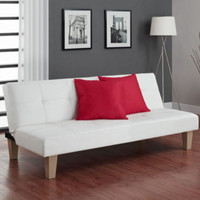 Contemporary Futon And Mattress Stylish Living Room Furniture Faux Leather White