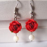 Flower earrings antique silver earrings by Youthinfinited on Etsy