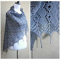 Knitting pattern - Morning Dew shawl with beads and tails