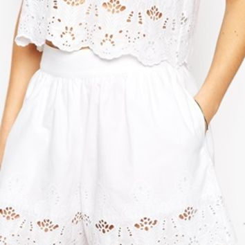 ASOS CO-ORD Shorts with Broderie Hem
