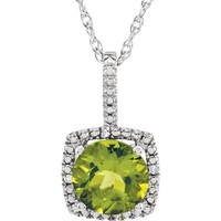 """Sterling Silver 7mm Peridot & .015 CTW Diamond 18"""" Halo-Style Necklace"""
