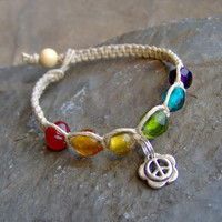 Hemp Bracelet w/ Rainbow Glass Beads Peace Sign- Hemp Jewelry - Beaded Hemp Bracelet