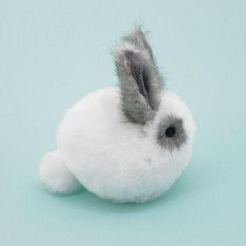 Reserved for Patricia White and Gray Bunny Stuffed Animal Plush Toy Rabbit - 4x5 Inches Small Size