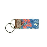 Multi Colored Hibiscus Needlepoint Key Fob by Smathers & Branson