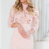 Harvest Dress in Blush Lace