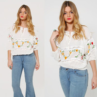 Vintage 70s EMBROIDERED Peasant Top White Cotton CROP Top Hippie Top FESTIVAL Top Bohemian Blouse
