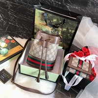 Gucci Ophidia Mini Gg Bucket Bag + Ophidia Gg Card Case Wallet #1585
