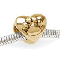 Beadaholique Double Sided Heart Shaped Bead with Paw Print, Fits Pandora, 22K Gold Plated