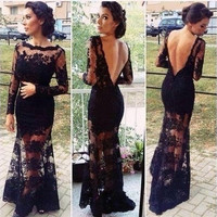 2014 New Arrival Mermaid Scoop Long Sleeves Floor Length Lace Black Appliques Open Back Evening Prom Dresses Prom Gown = 1696884228