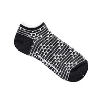 Cotton Random Border Print Sneaker Socks Charcoal