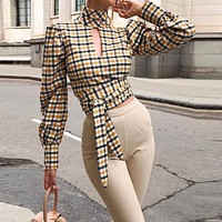 2020 new women's retro checkered long sleeve sexy halter top