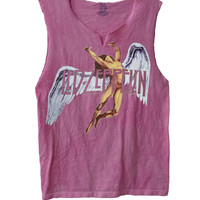 """Led Zeppelin """"Colorful Swan Song""""  men's raw edge vintage look muscle shirt"""