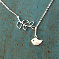Silver Branch and Love Bird Lariat Necklace