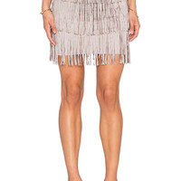 Toby Heart Ginger x Love Indie Stick Up Suede Fringe Skirt in Grey