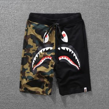 Men's Fashion Camouflage Print Patchwork Couple Pants Shorts [10141569543]