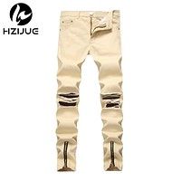 Men Jeans Washed male Casual Pants zipper Design Jeans streetwear Men skinny jeans