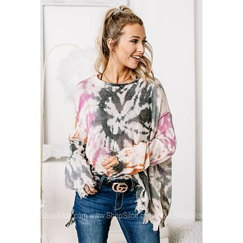 Calm & Collected Distressed Tie Dye Top