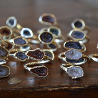 LUX DIVINE /// Semi Adjustable Geode Wrap Ring /// Silver