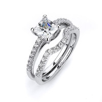 1 Carat Princess Cut Solitaire 4 Prong Cubic Zirconia Engagement Ring with Matching Curved Wedding Band Bridal Set by CZ Sparkle Jewelry®
