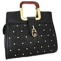 Square Handle Rhinestone Studded Fashion Purse Black