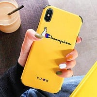 Champion Fashion New Letter Rabbit Print Women Men Phone Case Protective Cover Yellow