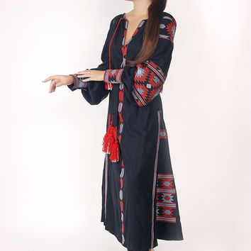 Vita Kin Style Boho Style Embroidered Vyshyvanka Folk Women's Maxi Dress Bohemian Style. ON SALE