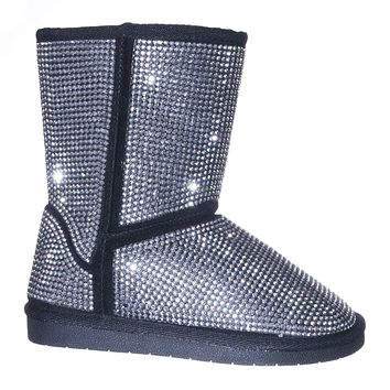 Ann20K Girls Rhinestone Stud Mukluk Lined Boot - Children Mid Calf Winter Shoes