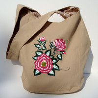 Hand Painted Hobo Bag with Red and White Flowers