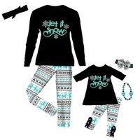 Black Aztec Deer Outfit Mommy Me Top And Pants
