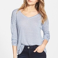 Junior Women's BP. Stripe V-Neck Long Sleeve Tee,