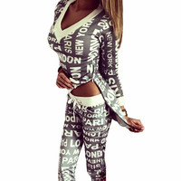 2017 Spring Autumn Sexy V-neck Hoodies Tracksuits Sweatshirts+pants 2pcs Sets Letters Printed Sport Suit women Sexy Suits Femme