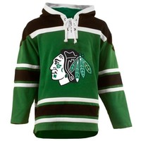 Old Time Hockey Chicago Blackhawks St. Patrick's Day McNary Lace Hoodie - Kelly Green