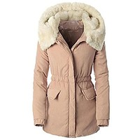 Thick Pink Parka Slim Coat