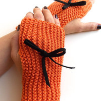 Orange Fingerless Mittens, Knitted Fingerless Gloves, Hand Warmers with Black Suede Bow