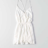 Don't Ask Why Wrap Front Romper, Chalk