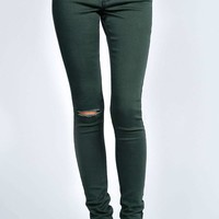 Lily Ripped Khaki Full Length Jeans